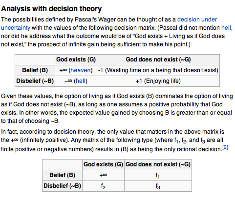 pascal wagers arguments on the existence of god Neither rational argument nor evidence can prove the existence of god pascal claims that you must wager on the existence of god- make the bet that is in your best interest does pascal think we should believe that god exist true theoretical rationality.